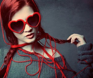 girl, red, and glasses image