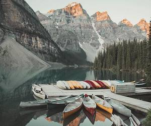 boat, lake, and mountains image