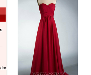 long dress, red, and escote corazon image