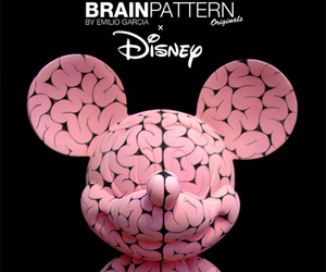 art, mickey mouse, and brain image