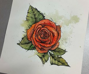 red, rose, and sketch image