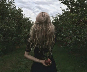 girl, apple, and hair image
