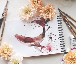 art, flowers, and whale image