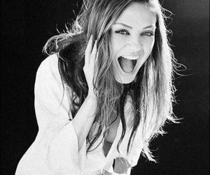 Mila Kunis, smile, and black and white image