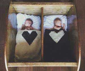 baby, twins, and heart image