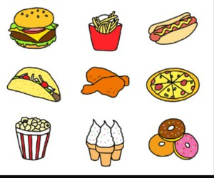 food, pizza, and donuts image