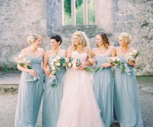 blue, bride, and bridemaid image