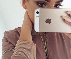 girl, iphone, and makeup image