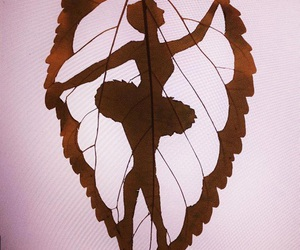 art, leaves, and ballerina image