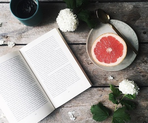 book, flowers, and fruit image