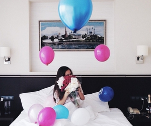 balloons, flowers, and surprise image