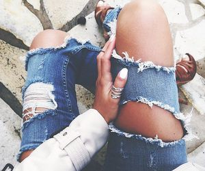 clothes, ripped jeans, and style image