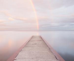 rainbow, pink, and sky image