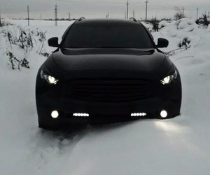 car, black, and snow image