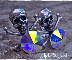 goth jewelry, gothic jewelry, and skull and crossbones image
