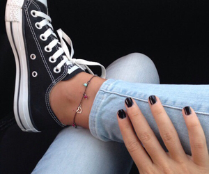 converse, black, and nails image