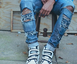 inspiration, sneakers, and ripped jeans image