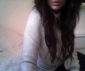 brunette, fashion, and knit image