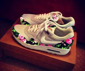 nike, shoes, and flowers image