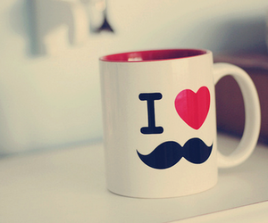 love, cup, and mustache image