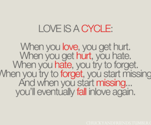 love, cycle, and quote image