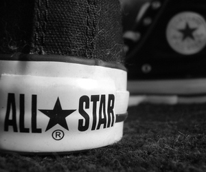all star, converse, and black and white image