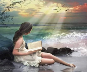 birds, book, and girl image