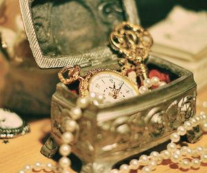 key, pearls, and vintage image