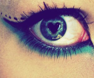 eye, heart, and blue image