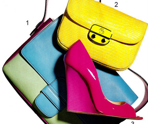 bright colors, handbags, and shoes image