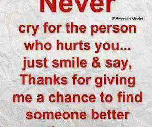 quote, never, and cry image