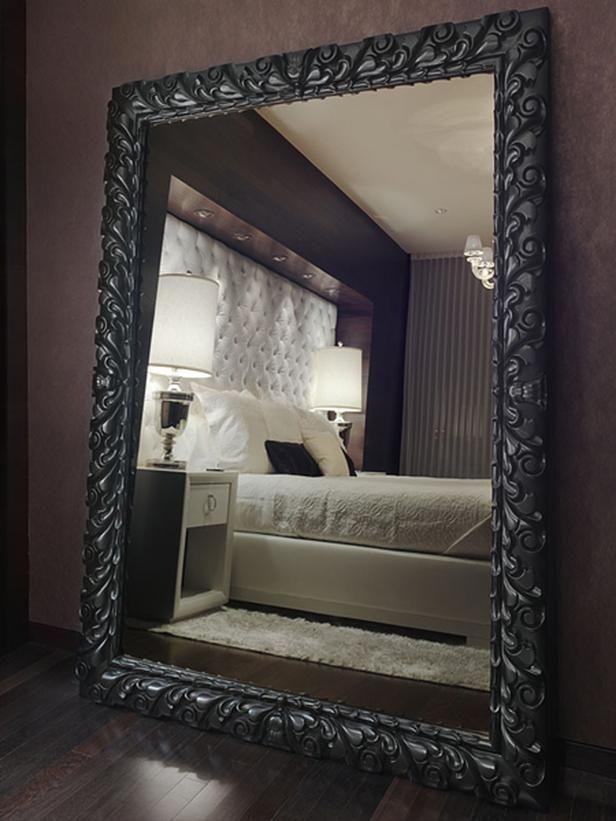 Bedroom With Extra Large Floor Mirror