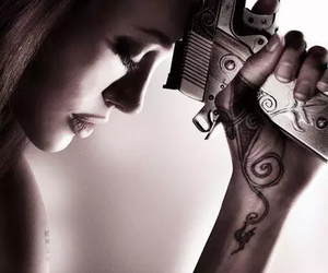 Angelina Jolie, gun, and badass image