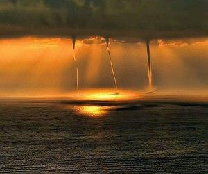 nature, sea, and tornado image