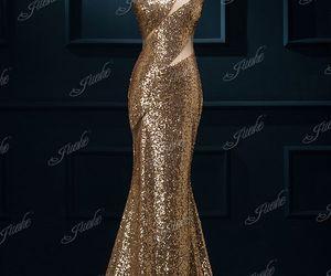 dresses, fashion, and gold dress image