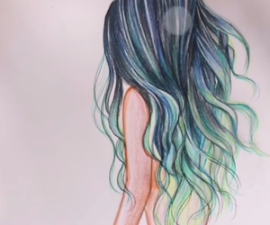 blue, hair, and drawing image