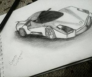 black&white, drawing, and Lamborghini image