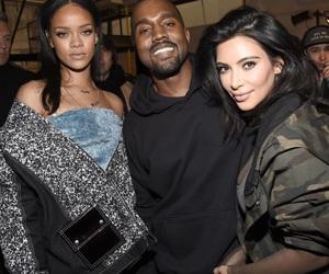 rihanna, kanye west, and kim kardashian image