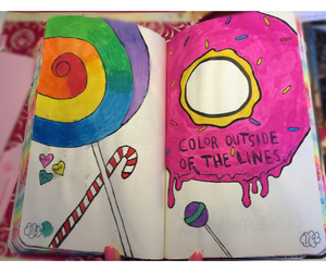 colorful, wreckthisjournal, and coloroutsidethelines image