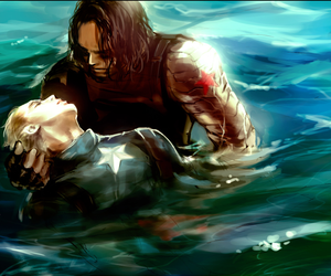 captain america, water, and steve rogers image