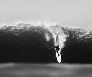 surf, black and white, and ocean image