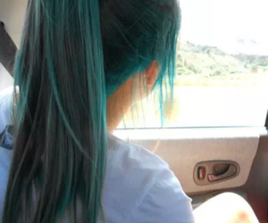 hair, long, and blue image