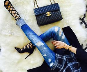 chanel, plaid, and denim image