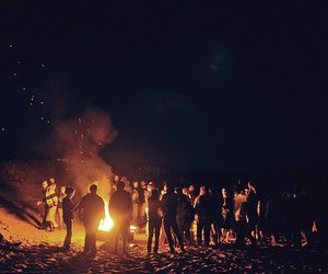 fire, night, and people image