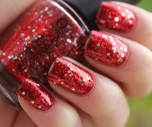 glitter, o.p.i, and red image