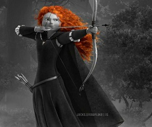 black and white, disney, and merida image