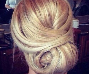 blond, updo, and chic image