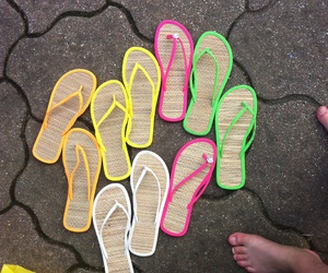 pink, yellow, and flip flops image