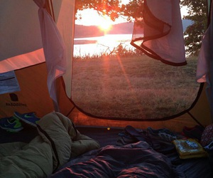 sun, camping, and tent image