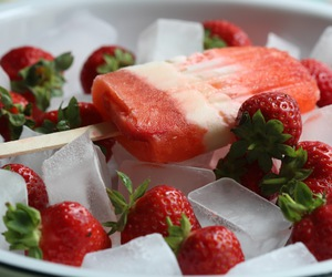 food, ice lollies, and strawberry image